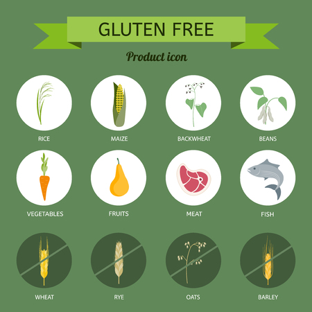 Icons foods containing gluten Stock Vector - 73615622