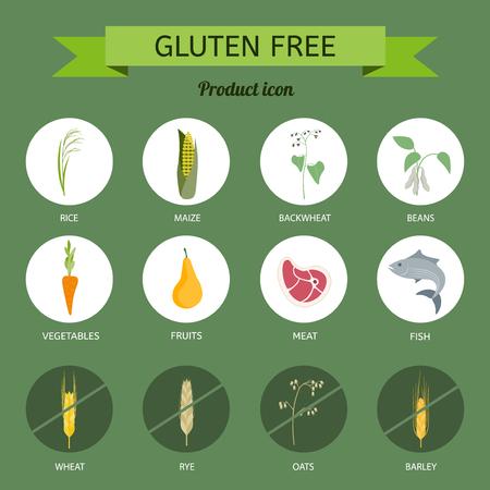 Icons foods containing gluten Ilustração