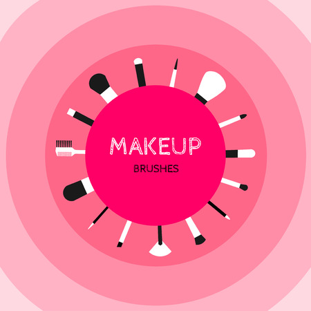 domicile: Cosmetics make-up on bright pink background: mascara, lipstick, powder, blush, pencils, eye shadow, nail polish, and others