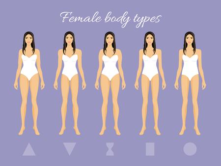 Satz der weiblichen Körper-Form-Arten: Dreieck, umgekehrtes Dreieck, Sanduhr, Rechteck, rund Standard-Bild - 74693145