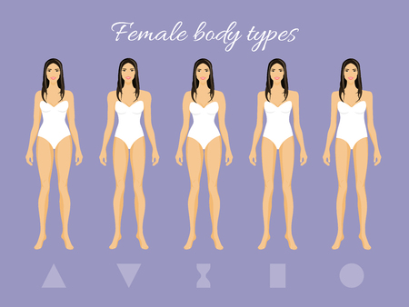 Set of Female Body Shape Types: Triangle, Inverted Triangle, Hourglass, Rectangle, Round Ilustração