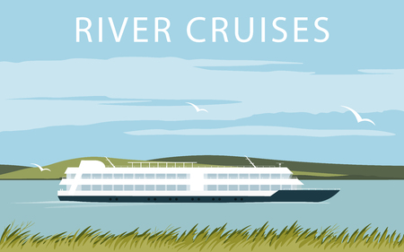 River cruise ship. Recreational waterway travel. Illustration in flat design. Summer trip background Иллюстрация