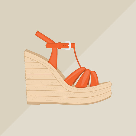 Womens platform sandal vector. Flat icon isolated on background. Red summer shoe. Illustration