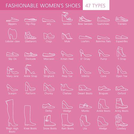 shoelace: Collection of summer, autumn and winter shoes. Set of fashionable womens shoes. Different types footwear