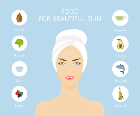 Young woman in towel. Beautiful girl with healthy skin. Diet for beauty Illustration