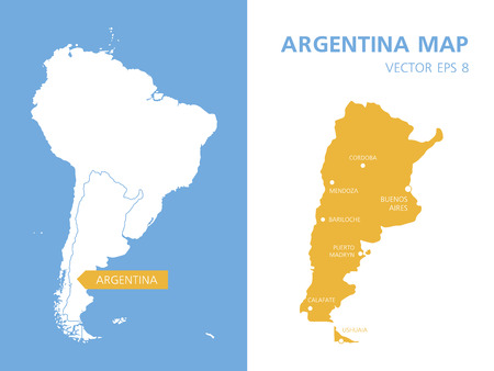 bariloche: Maps of Argentina and South America.