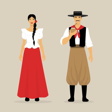 De Argentijnen. Een vrouw en een man in nationale kleding. Latijns Amerikanen. Cultuur van Zuid-Amerika