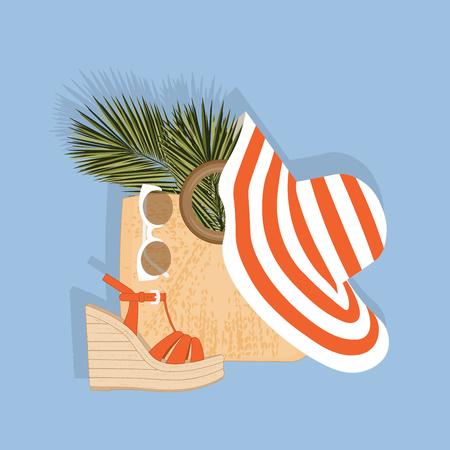Uma coleção de acessórios femininos: um chapéu, uma bolsa de palha, sandálias, óculos de sol. Conjunto de praia com folha de palmeira