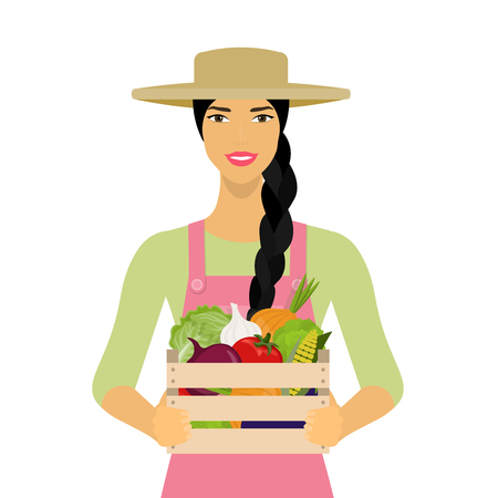 wood crate: Woman holding a box of vegetables. Farmer with harvest.