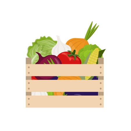 Wooden box with fresh vegetables on white background. The harvest festival. Healthy diet. Vector illustration in flat style.