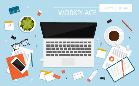 working place: Workplace for business, management and IT. View from above. Laptop, mobile phone, notebook and office supplies on the desktop Illustration