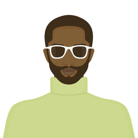 アフリカ人の肖像画。男の顔。アバターのためのインターネット。ベクトル図
