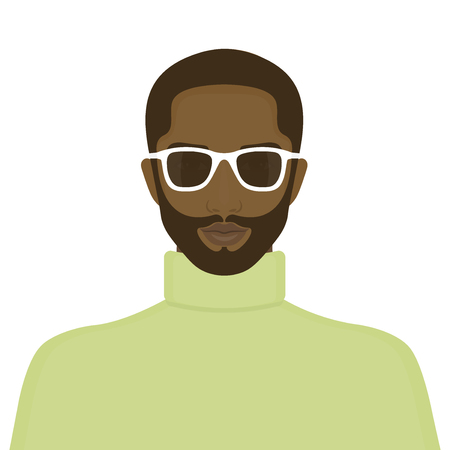 Portrait of an African man. The face of a guy. Avatar for the Internet. Vector illustration Ilustração