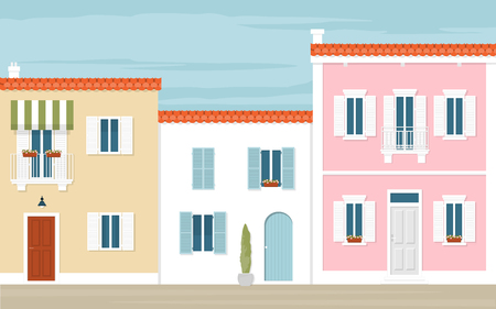 mediterranean homes: Multicolored houses in the Italian city. The Mediterranean street. Architecture of Europe. Summer view. Illustration