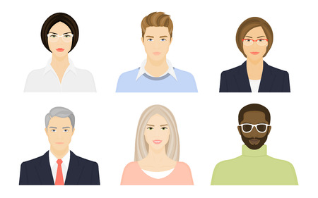 Female and male faces on a white background. Young and old people. Avatar for the Internet. Vector flat illustration  イラスト・ベクター素材