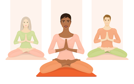meditation man: Group of people meditate. Yoga classes in the gym. Women and men doing sports exercises.