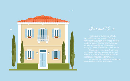mediterranean homes: Traditional Italian house. Mediterranean architecture. Tuscany. Summer in the European countryside.