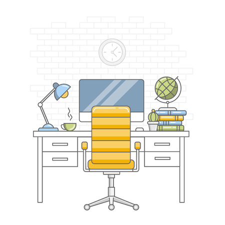Back to school. Education. Home kid room interior. Desktop, chair, monitor, lamp, cup, books and globe against a white brick wall . Linear flat style