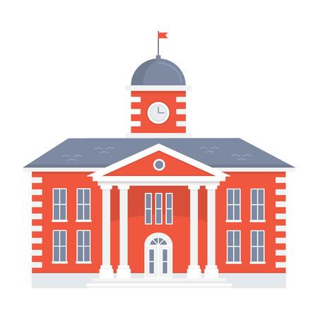 Schoolgebouw op witte achtergrond. Terug naar school. De gevel van het oude college. platte vectorillustratie