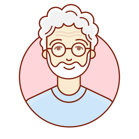 mature adult: The face of an old man vector linear illustration Illustration