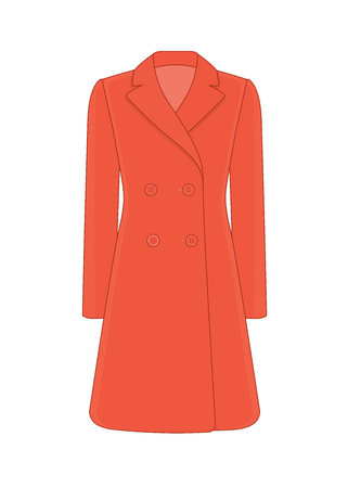 Womens coat robe. Cashmere and wool. Trendy model of womens wardrobe. Vector illustration