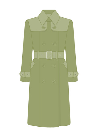 Womens trench coat with a belt. Trendy model of womens wardrobe. Vector illustration