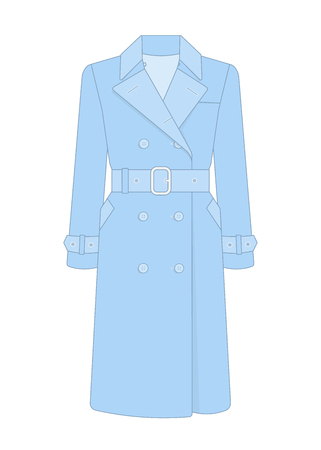 Womens trench coat with a belt. Trendy model of womens wardrobe.