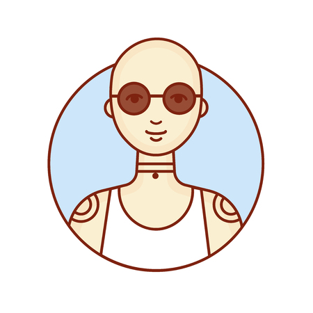 Bald girl. Avatar. Portrait of a woman with tattoos. Vector linear illustration