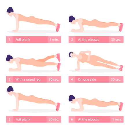 Set of young woman planking in various poses: elbow plank, side plank, with a raised leg, full plank.