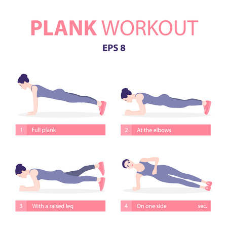 Set of young woman planking in various poses: elbow plank, side plank, with a raised leg, full plank. Vector illustration in a flat style