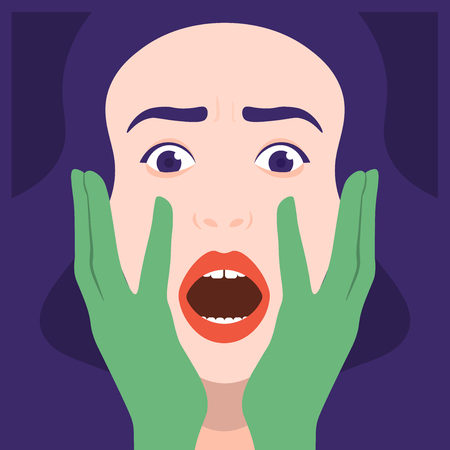Fear, horror and mysticism. A frightened womans face vector illustration.