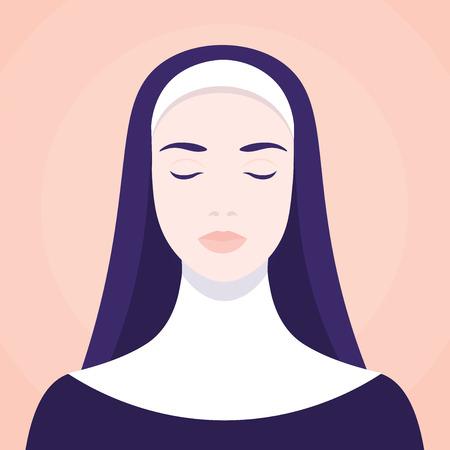 A portrait of a nun vector illustration