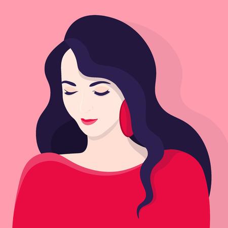 Diffidence. Shy girl. Embarrassment. Female portrait. Vector illustration