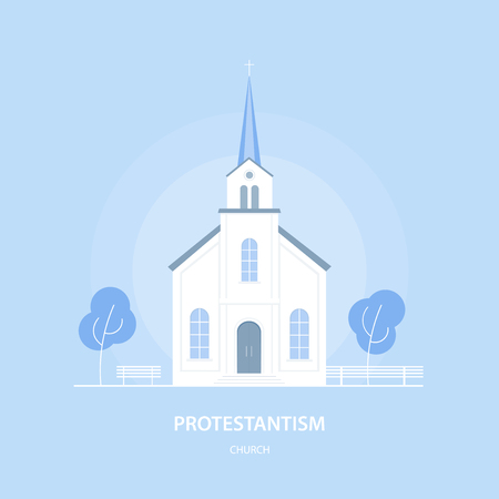 The Protestant Church Christian temple vector illustration