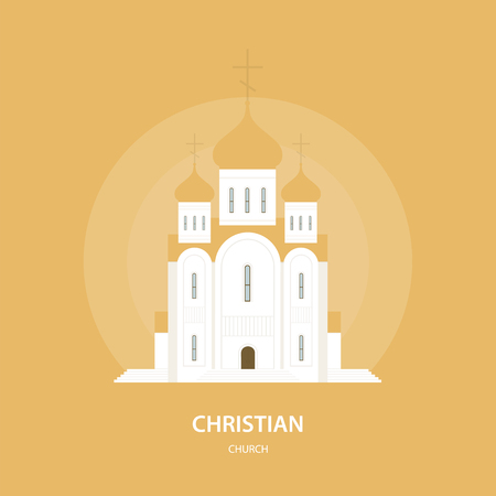 Christian Orthodox church. Russia and Eastern Europe. Religion and architecture. Vector illustration
