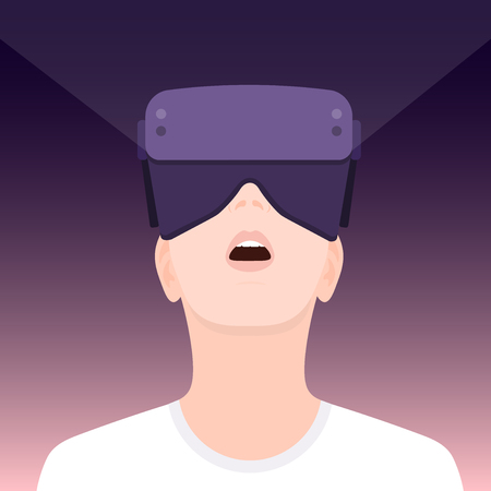 Vr world. Teenager wearing virtual reality glasses. Amazed face vector illustration. Vectores