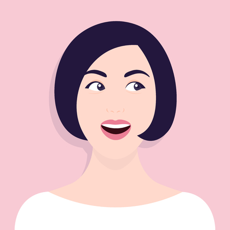 Portrait of a curious woman. Surprised face. Vector illustration