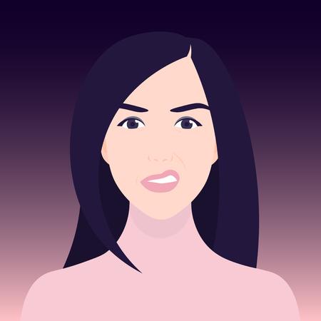 Walging en ontevredenheid. Het gezicht van een vrouw in een grimas. Negatieve emoties. Vector illustratie