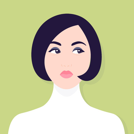 Envy and hypocrisy, a womans face, portrait of a sad girl. Competition and conflicts avatar vector illustration. Illustration