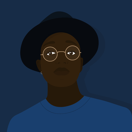 Portrait of a young African American in a hat and glasses. Self-confidence. Vector Flat Illustration Vectores