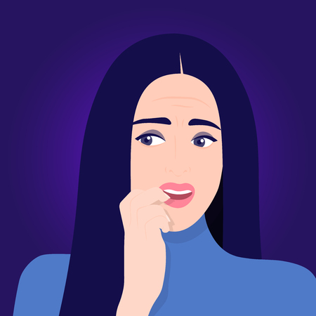 Anxiety and uncertainty. Fears in A woman's face. Stress and fear. Portrait Vector Flat Illustration