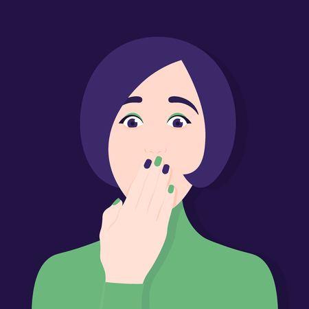 The woman covered her mouth with her hand. Silence. Censorship. Secrets and conspiracies. Vector Flat Illustration
