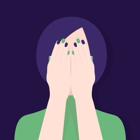 The woman covered her eyes with her hand. Indifference and fear. Vector Flat Illustration