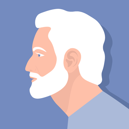 Profile of an elderly man. The face of the pensioner is on the side. Avatar. Vector Flat Illustration