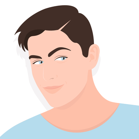 Portrait of a young man. Sly. Cunning and cunning. Vector Flat Illustration Illustration
