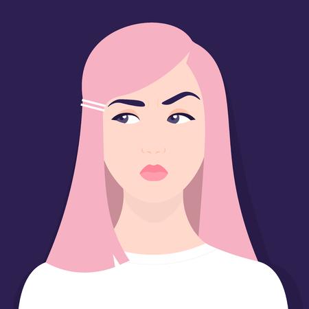 The girl doubts. Thoughtful girl. Portrait. Avatar. Vector flat illustration