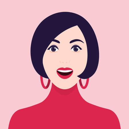 Delight and admiration. A womans amazed face. Portrait of a girl. Vector Flat Illustration