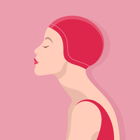 Female profile. European girl in a rubber cap for the pool. Vector Flat Illustration