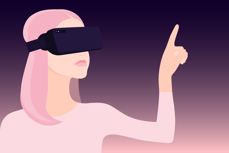 Vr world. Women's head. Virtual reality glasses. Amazed face. Vector illustration