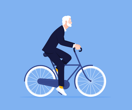 The old man is riding a bicycle. Businessman. Trip to the office. Healthy lifestyle. Vector flat illustration Illustration